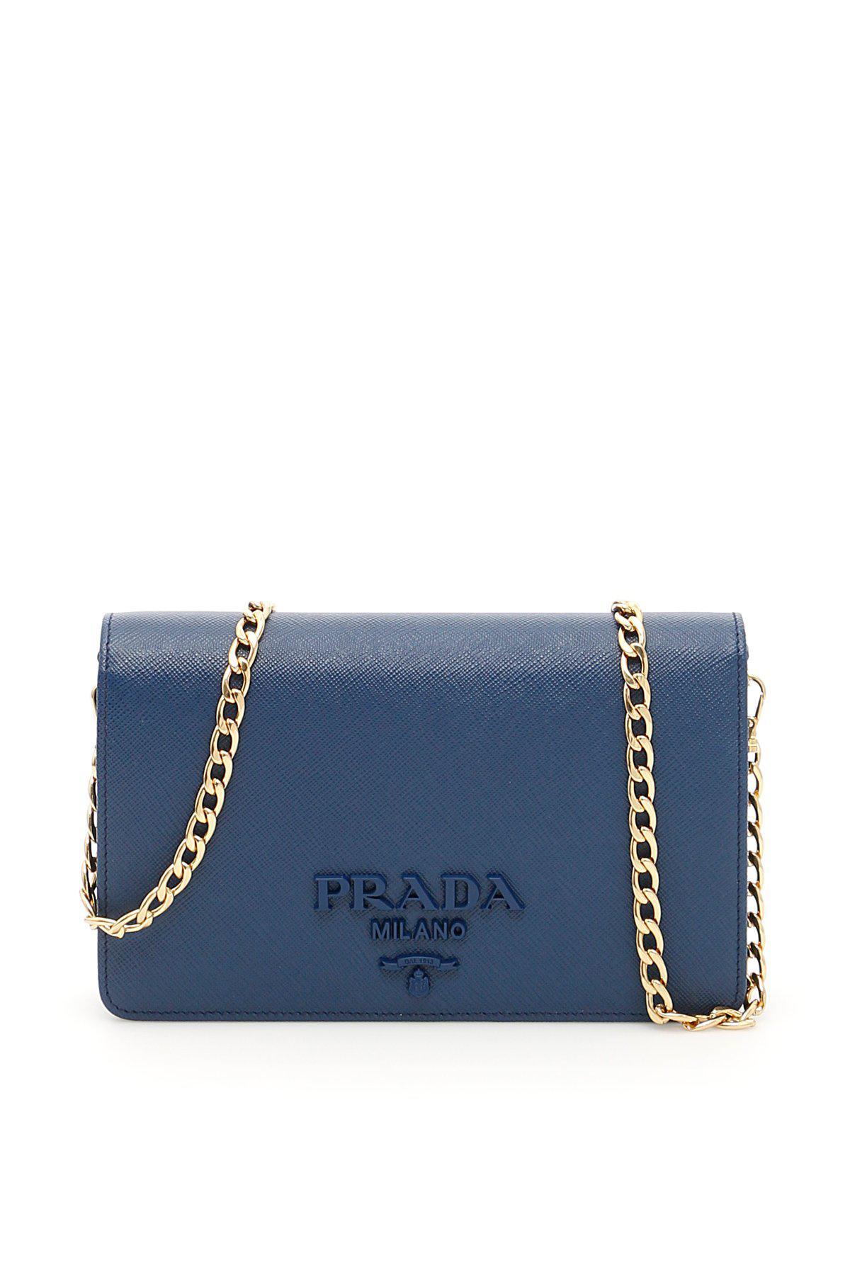 ... australia lyst prada chain clutch bag in blue 430a9 81907 43f762baef78f