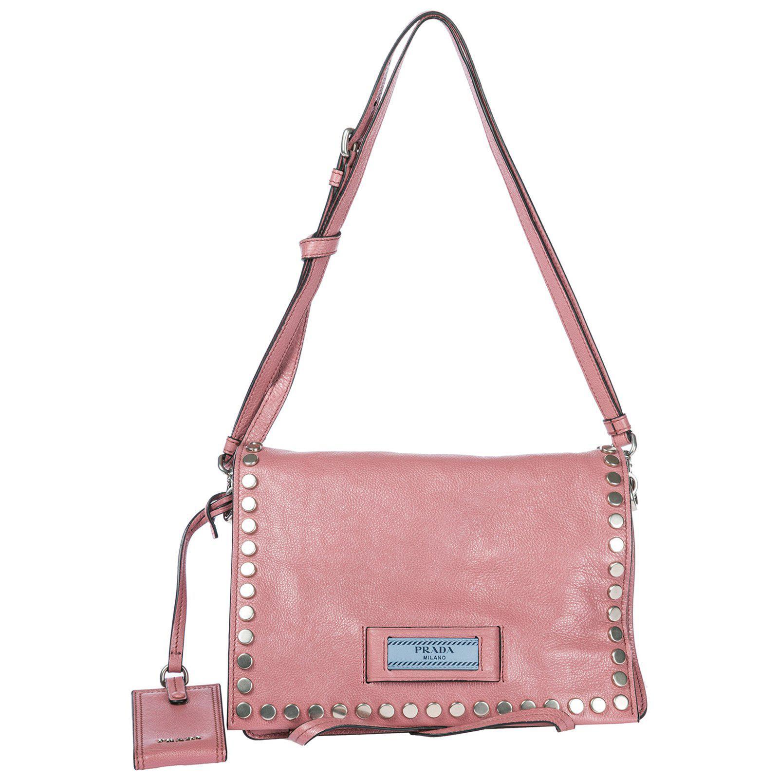 ... Black (Nero  low priced 4a8ce 5513c Prada - Pink Studded Satchel Bag -  Lyst. 4df5db3864c45