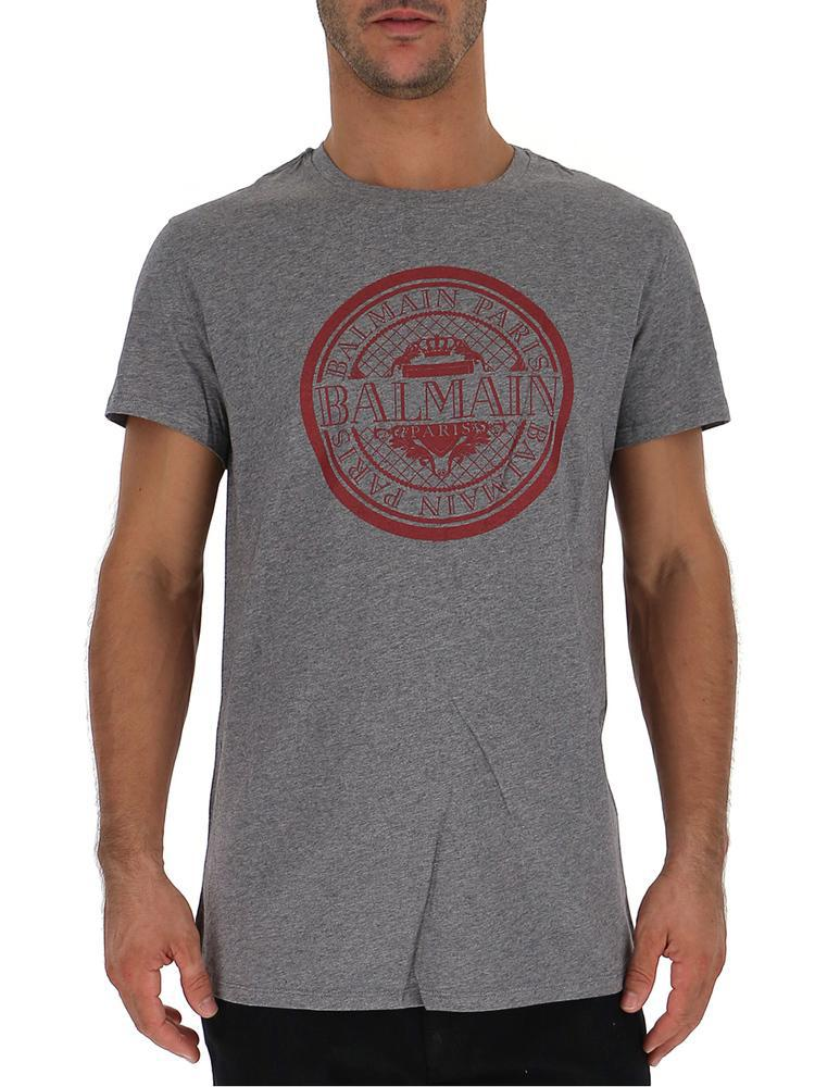 a912883b Balmain Logo T-shirt in Gray for Men - Lyst