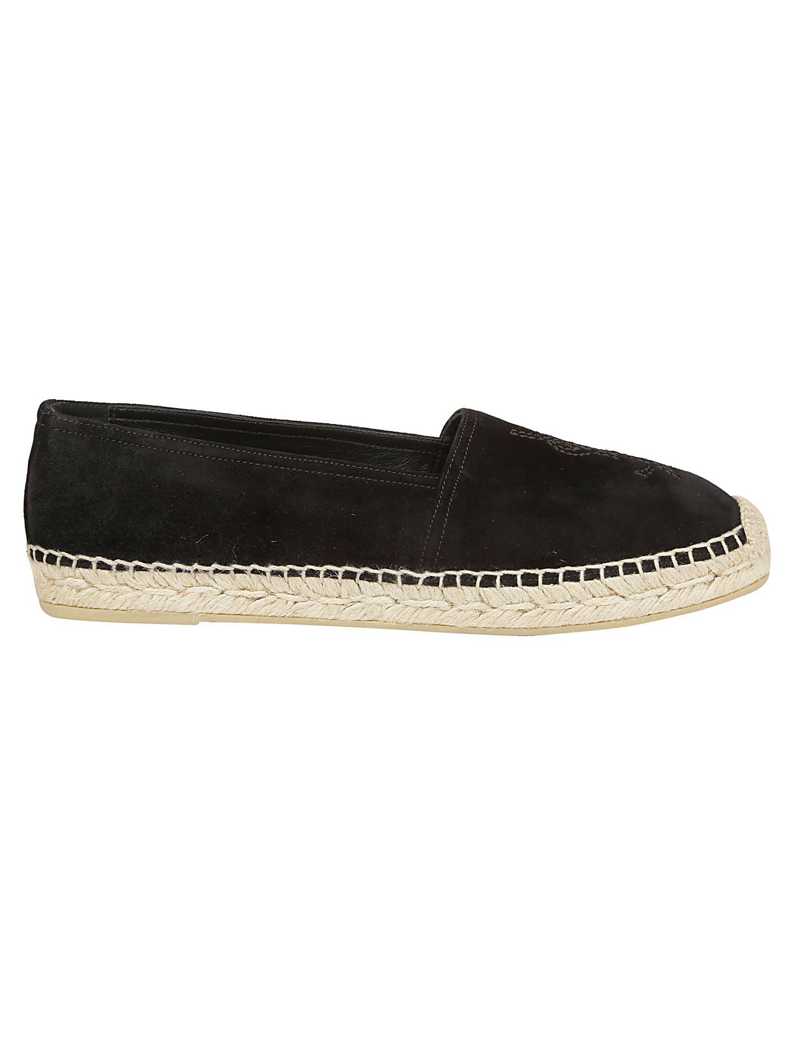 d5f00c7068ed3 Saint Laurent Black Suede Logo Espadrilles in Black - Save 50% - Lyst