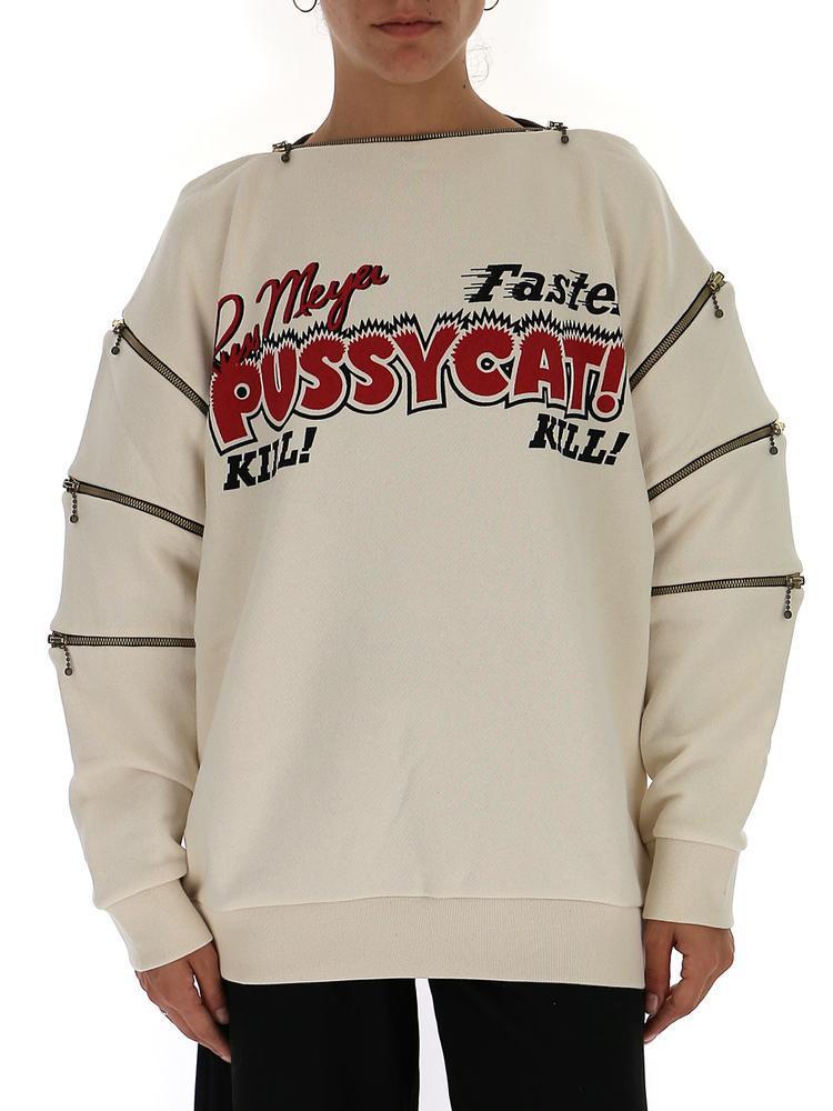 45ac5d0687 Gucci Pussycat Oversize Sweatshirt in White - Lyst