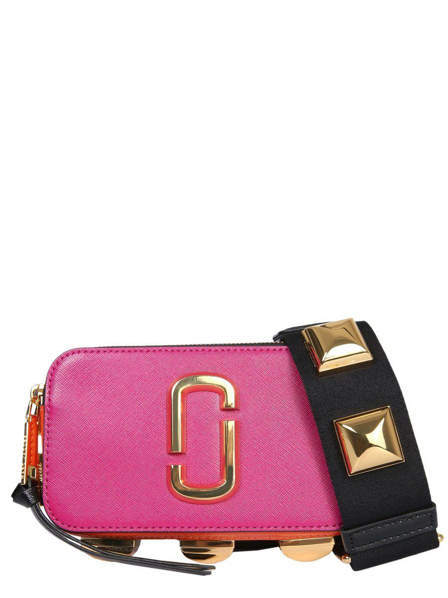 e9755ba044c2 Lyst - Marc Jacobs Snapshot Small Studded Crossbody Bag in Pink