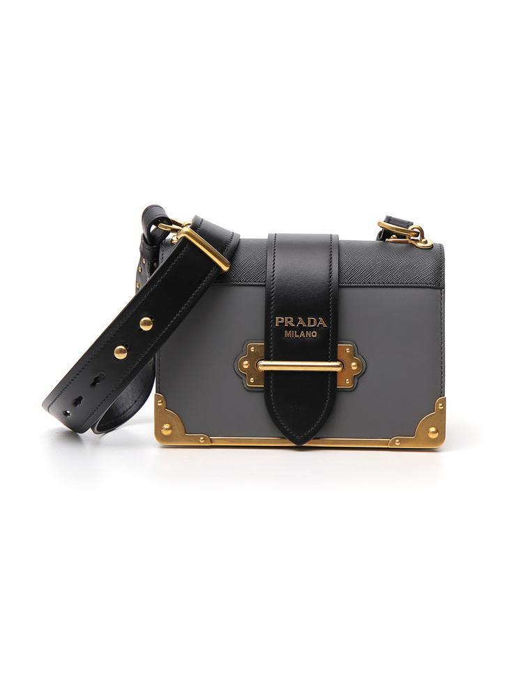 18702fe59210 Prada Cahier Shoulder Bag in Gray - Lyst