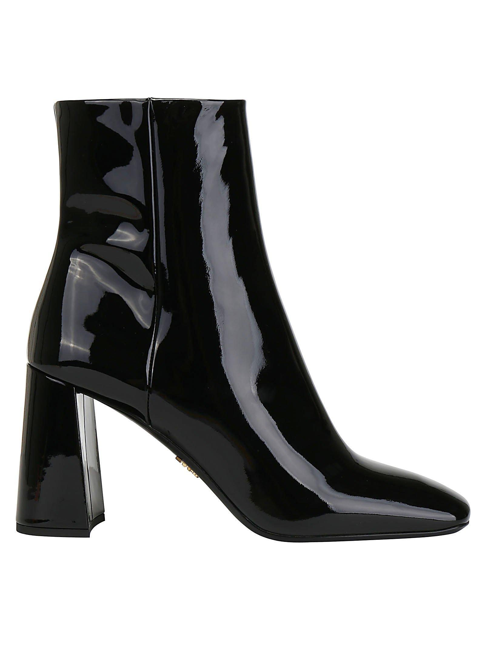 Prada Booties Patent Leather Black