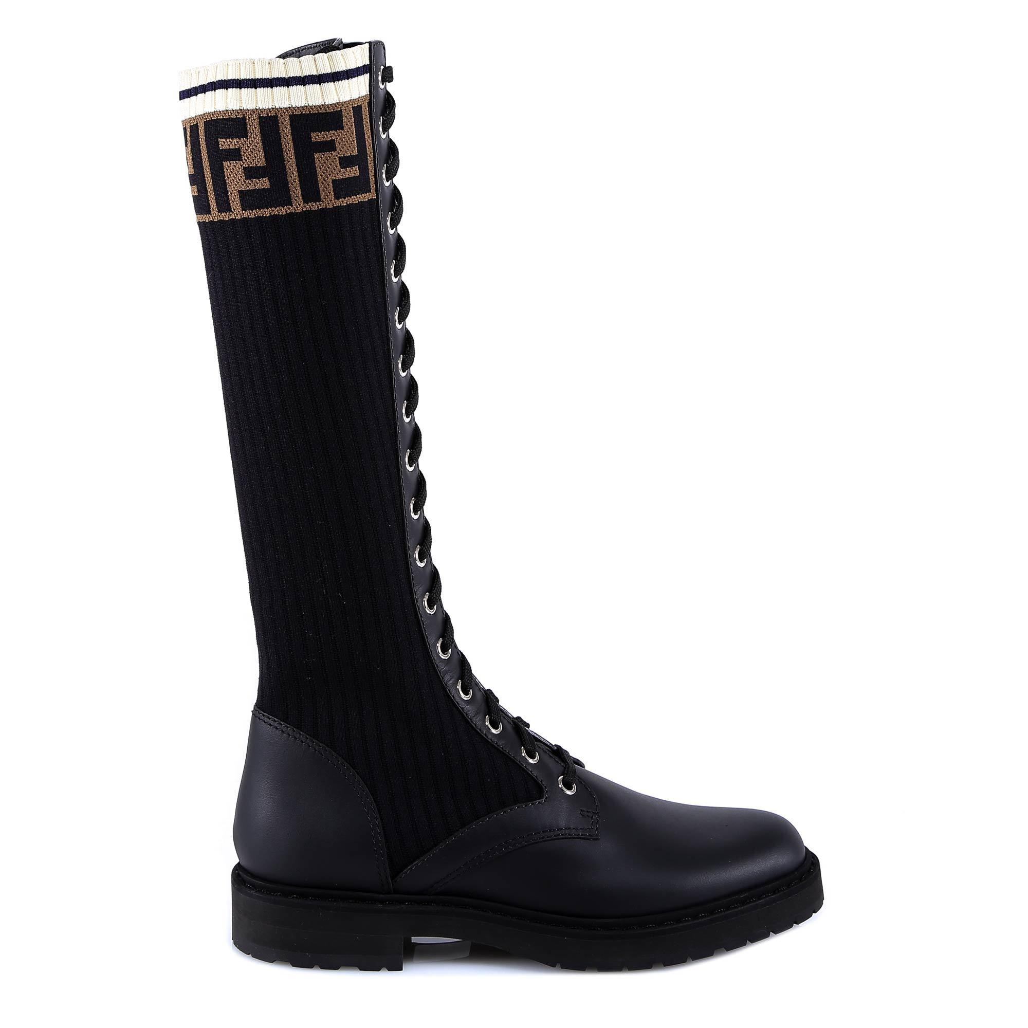 Fendi Leather Lace-up Sock Boots in