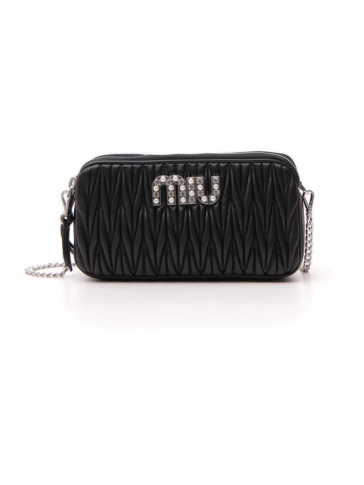 Lyst - Miu Miu Logo Matelasse Crossbody Bag in Black a58e090ddd