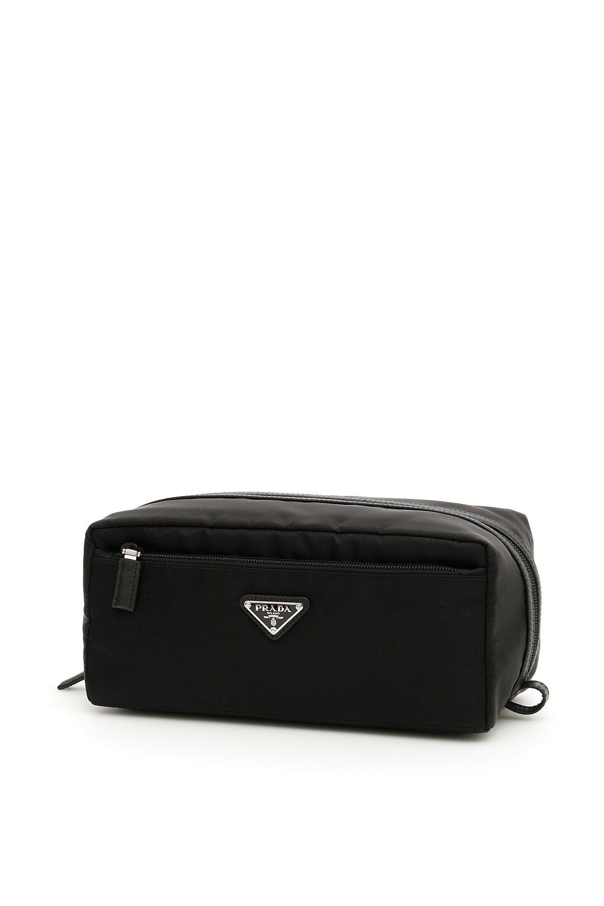 5a402b764b1f2a Prada - Black Logo Toiletry Bag for Men - Lyst. View fullscreen