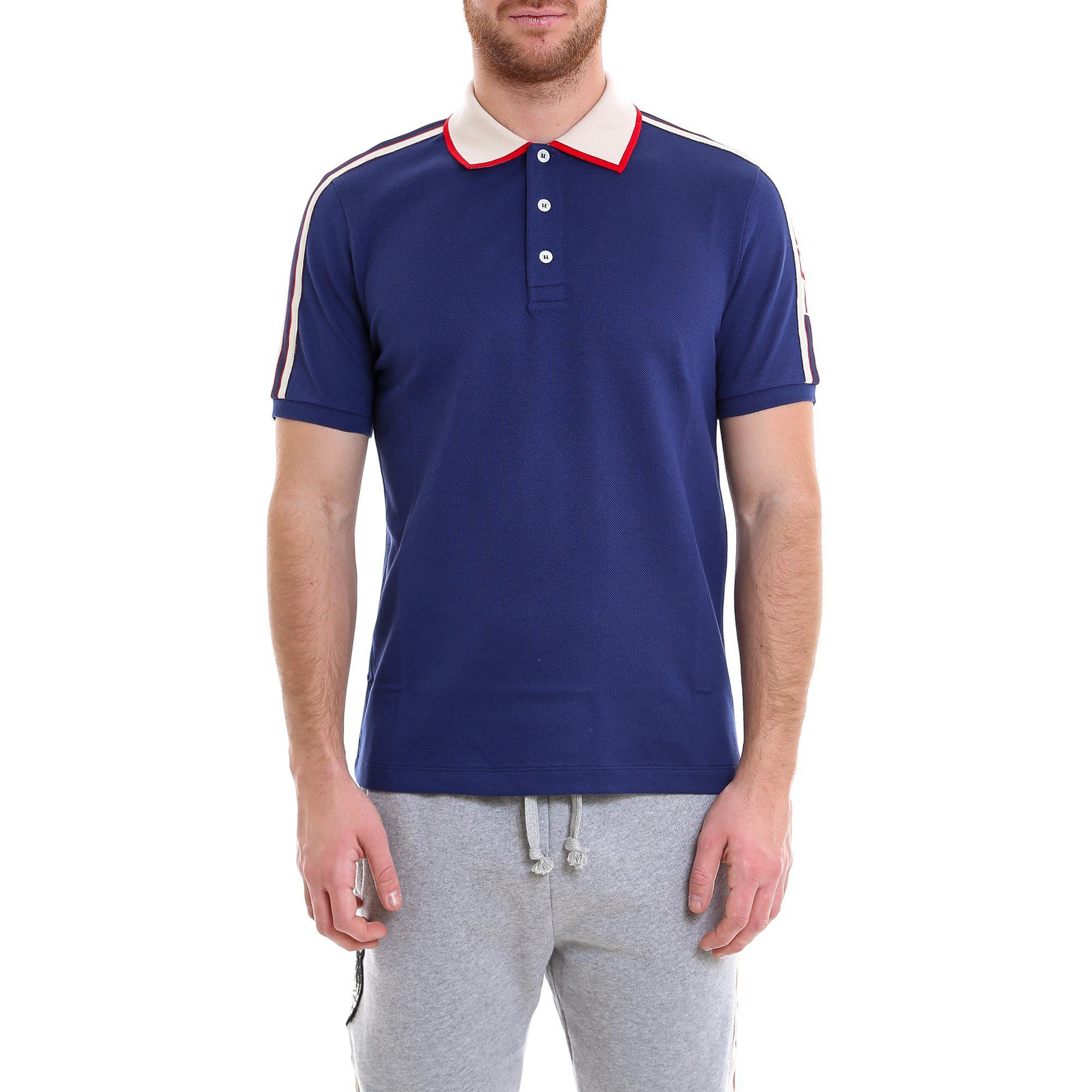 8c87e9c8ce Gucci Logo Ribbon Polo Shirt in Blue for Men - Lyst