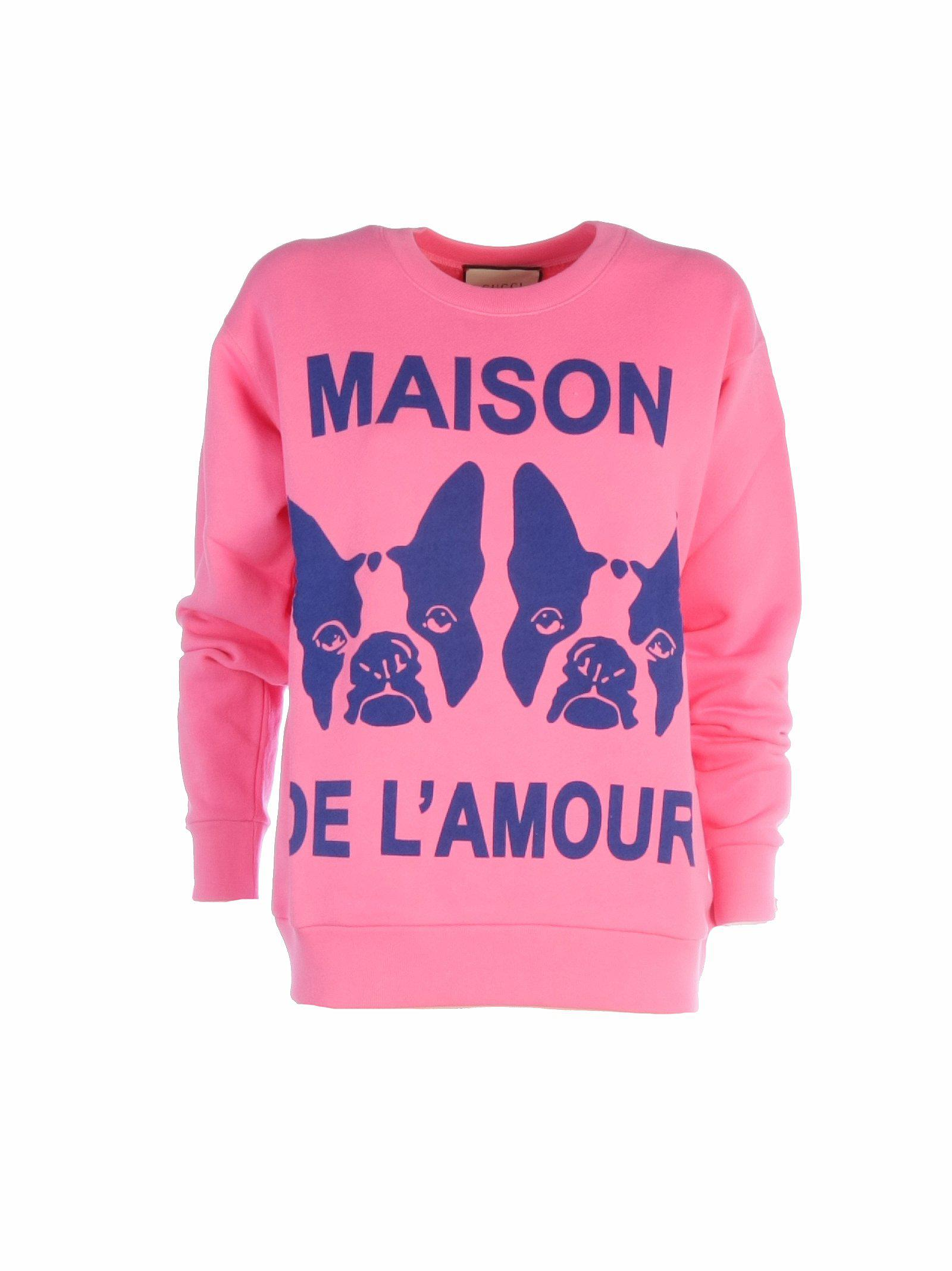 ce95665fb6 Lyst - Gucci Oversize Sweatshirt With Bosco And Orso in Pink