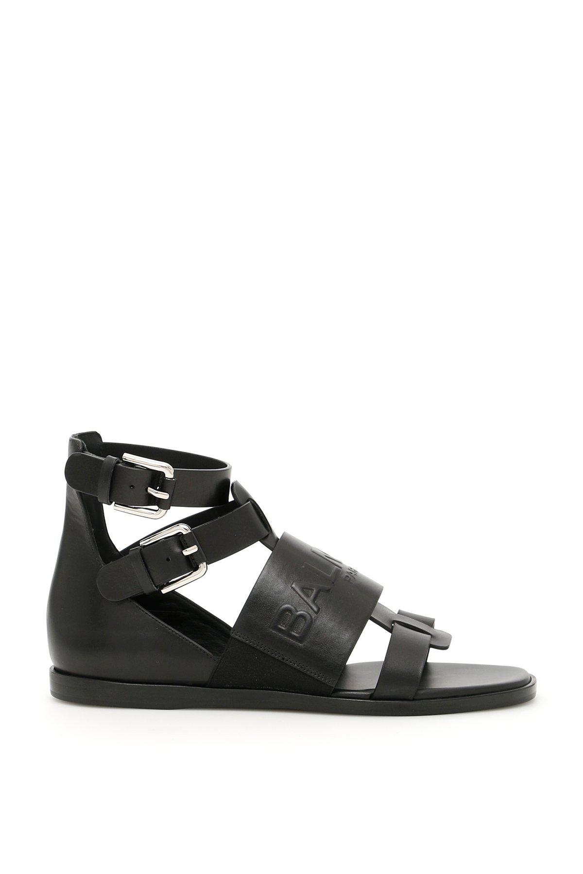 Sandales En Cuir Gaufré Logo-noir - Balmain XKGP5ui