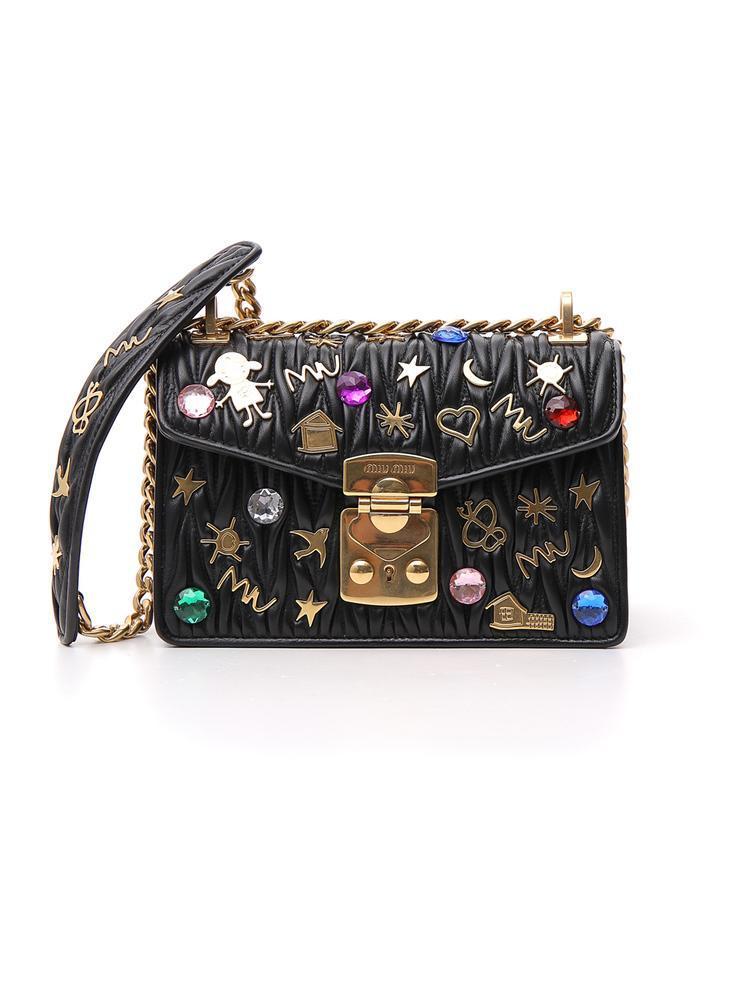 f0825f41c84d Lyst - Miu Miu Embellished Shoulder Bag in Black