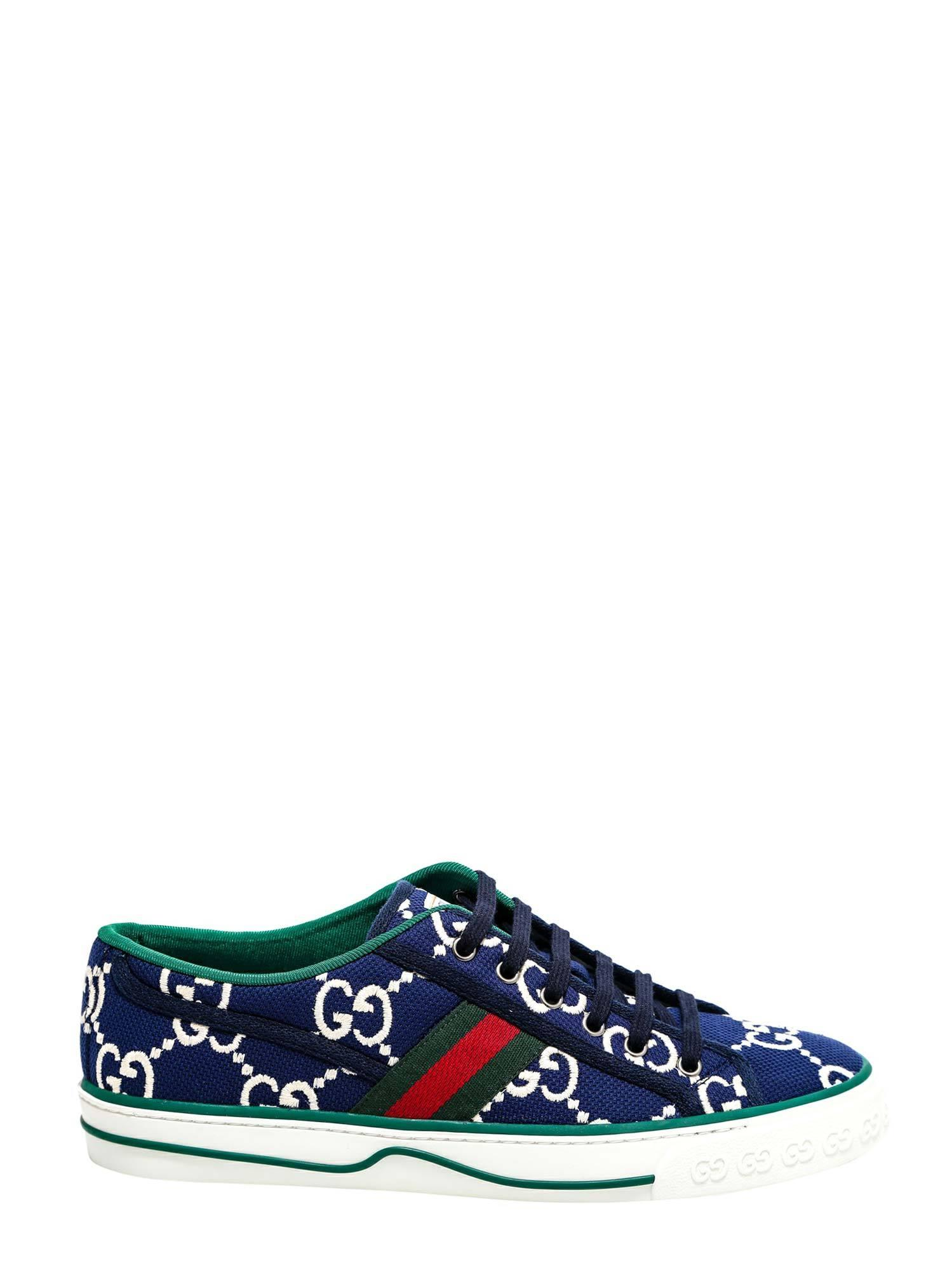 Gucci Canvas Low Trainers in Blue/White