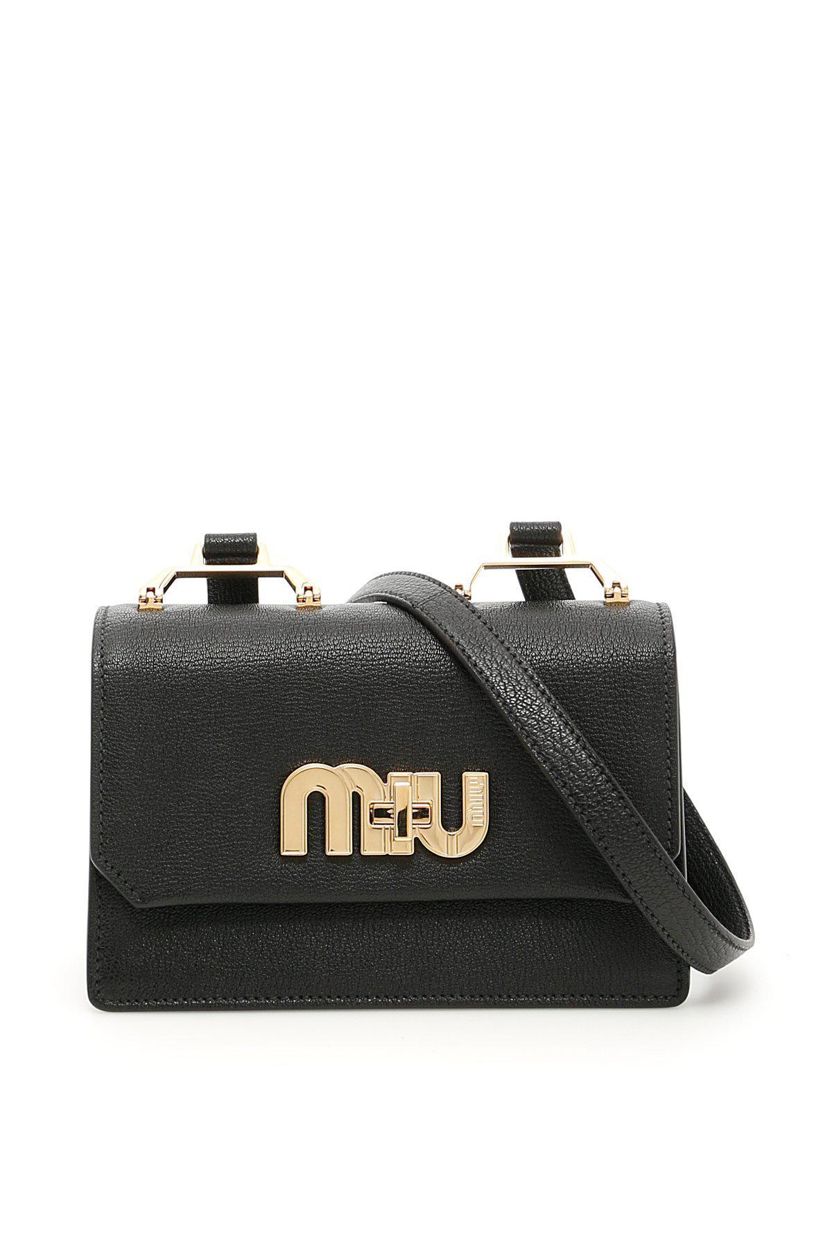 574d3bd18806 Lyst - Miu Miu Logo Shoulder Bag in Black