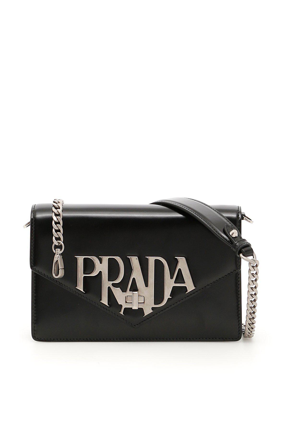 9ece7aa291e9 Prada - Black Logo Envelope Shoulder Bag - Lyst. View fullscreen