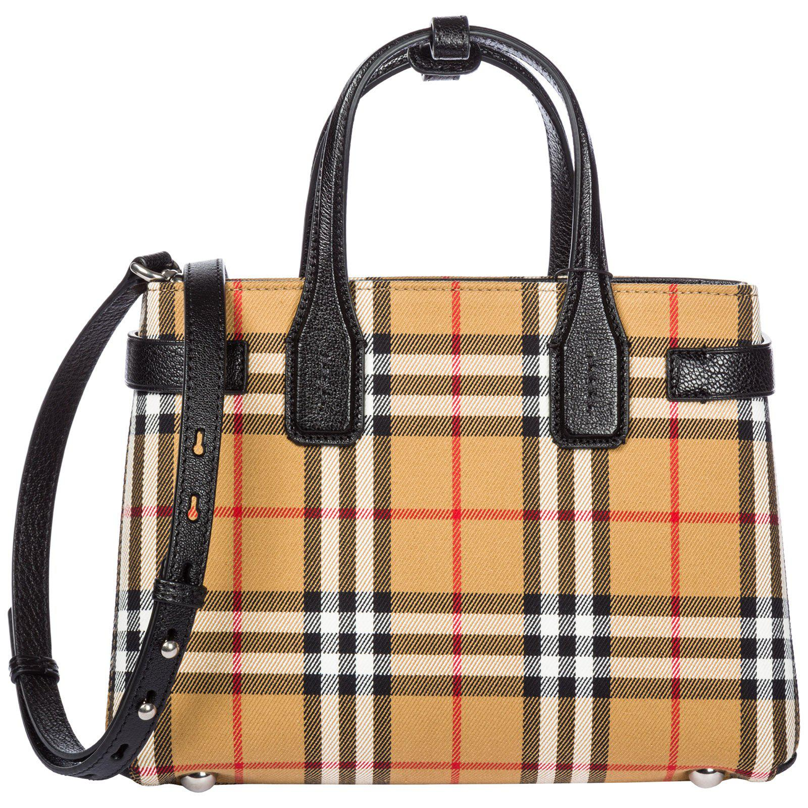 ecac6df12c Burberry Checked Banner Bag in Brown - Lyst
