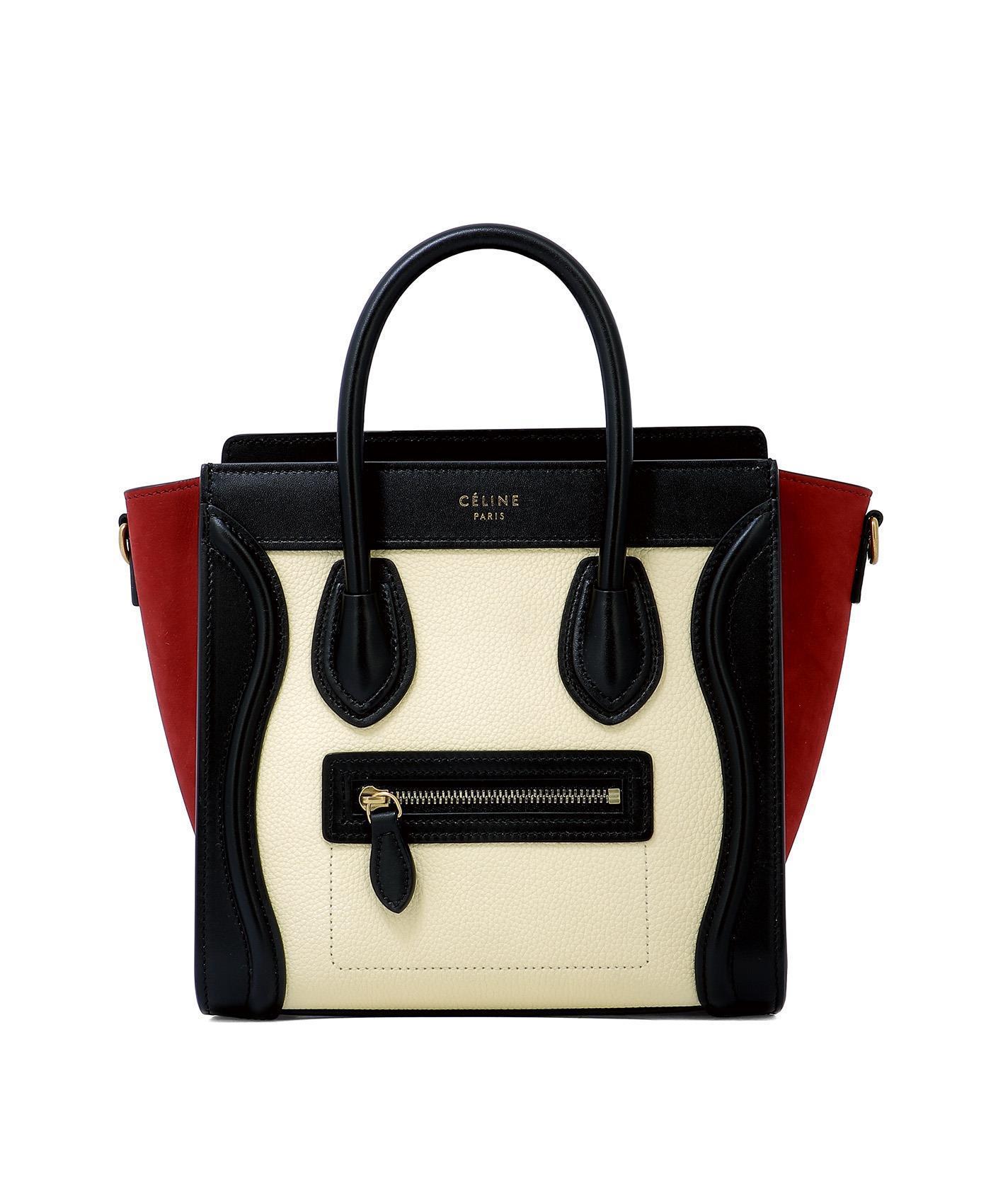 Céline Colour Block Nano Luggage Bag in Black - Lyst 3a86f813d0