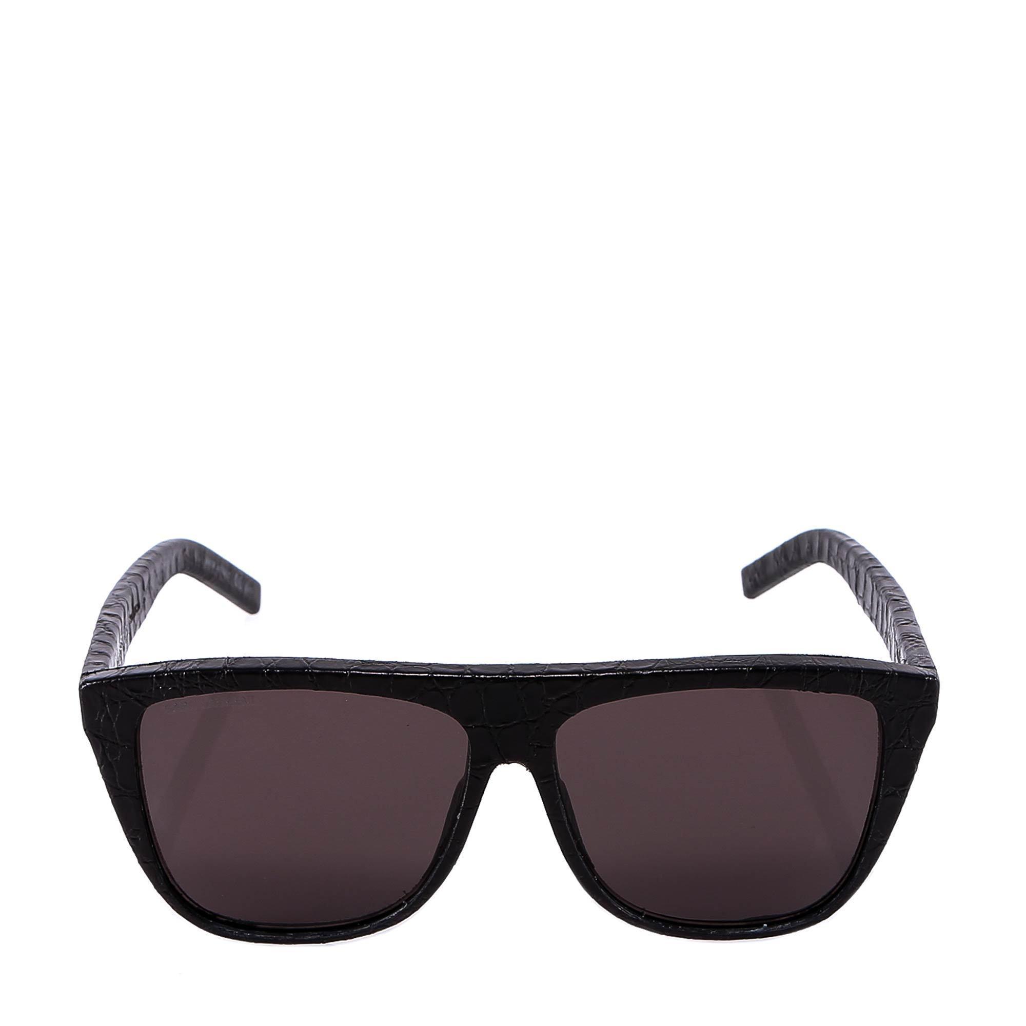 ffa62791569 Saint Laurent. Men s Black Eyewear Snakeskin Effect Square Frame Sunglasses