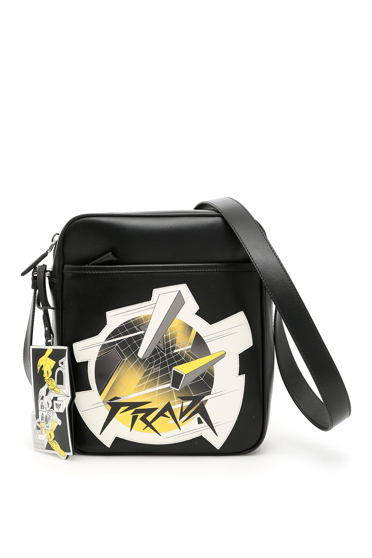 3f77b2a36faaad Prada Comic Print Messenger Bag in Black for Men - Lyst