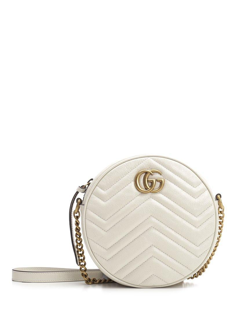 b288549b4e23 Gucci GG Marmont Mini Round Matelassé Shoulder Bag in White - Lyst
