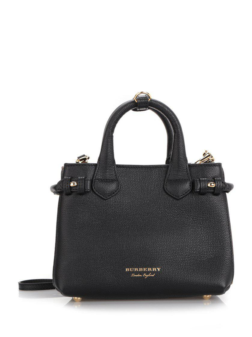 5c6c9f3b762a Burberry Textured-leather And Checked Canvas Tote in Black - Save ...