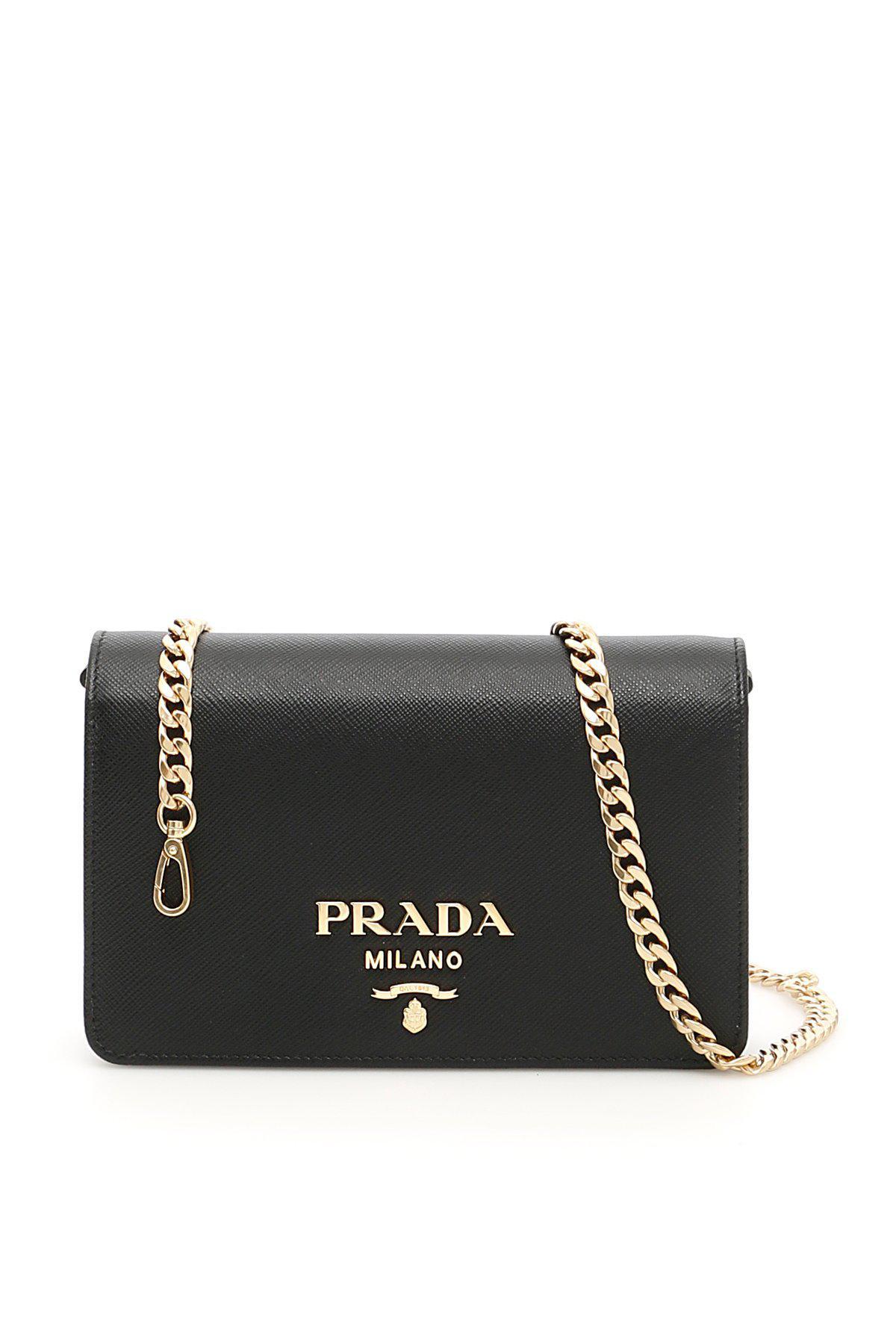 Lyst - Prada Logo Milano Saffiano Shoulder Bag in Black - Save ... 735485abc2f43