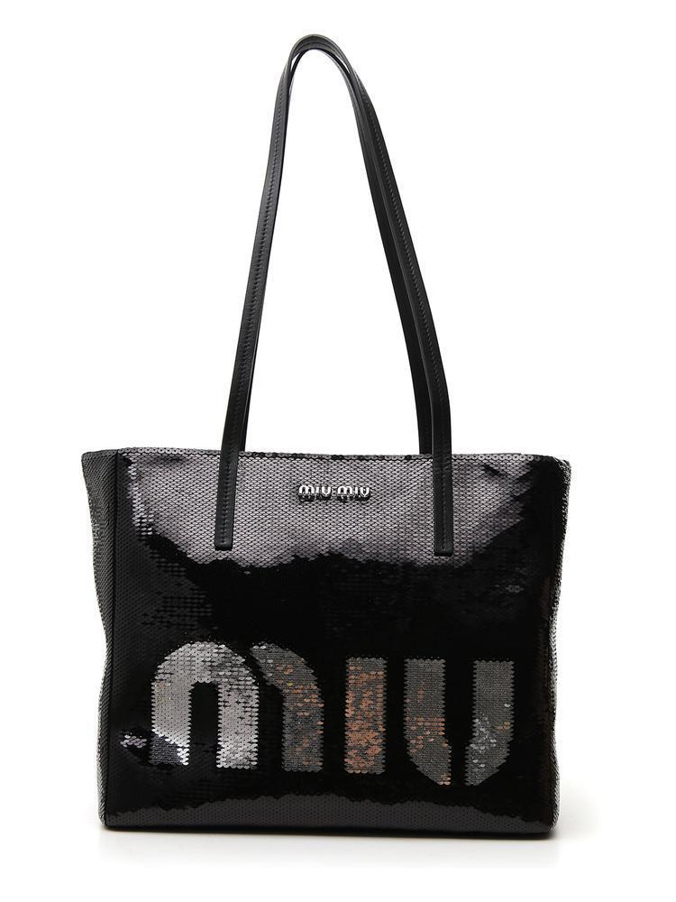 Miu Miu Sequin Logo Zip Tote in Black - Lyst 51a3a7c3a3