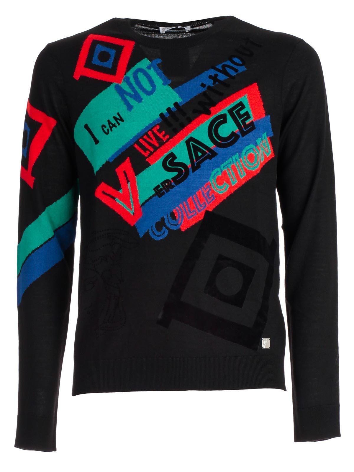 8822caec83032 Versace Graphic Design Logo Sweater in Black for Men - Lyst