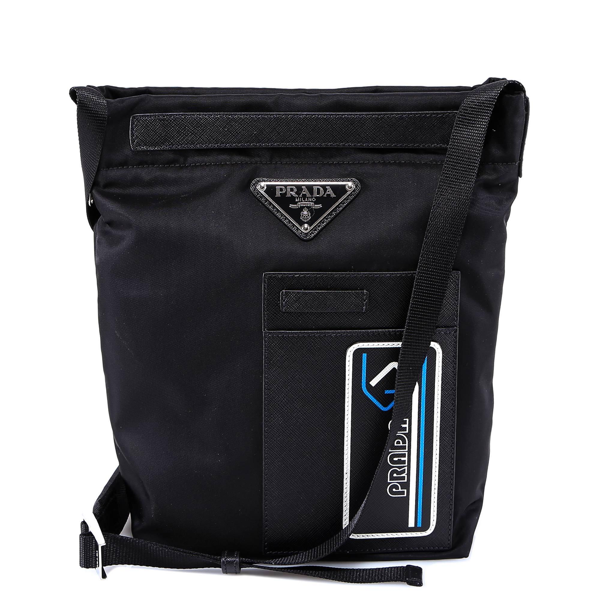 4652750f308f2a Lyst - Prada Logo Detail Messenger Bag in Black for Men