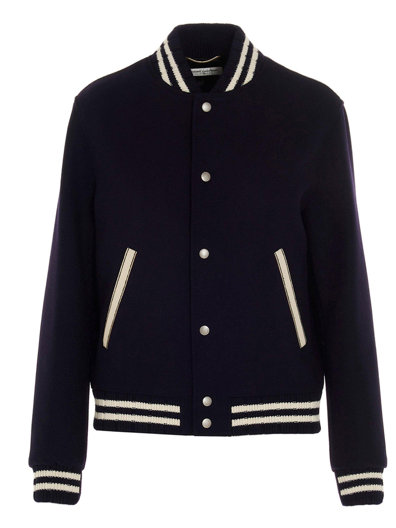 Details about  /Black Wool Real Leather Sleeves Varsity Jacket Rib Black/&White