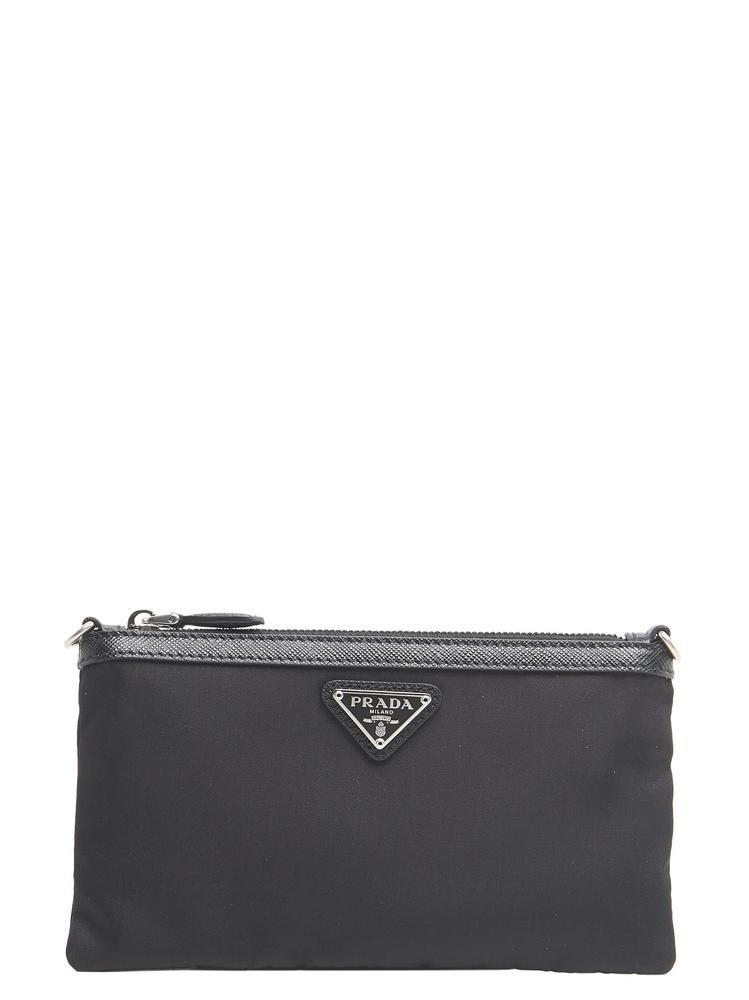 ae7646afefe1 Lyst - Prada Saffiano Chain Strap Clutch Bag in Black
