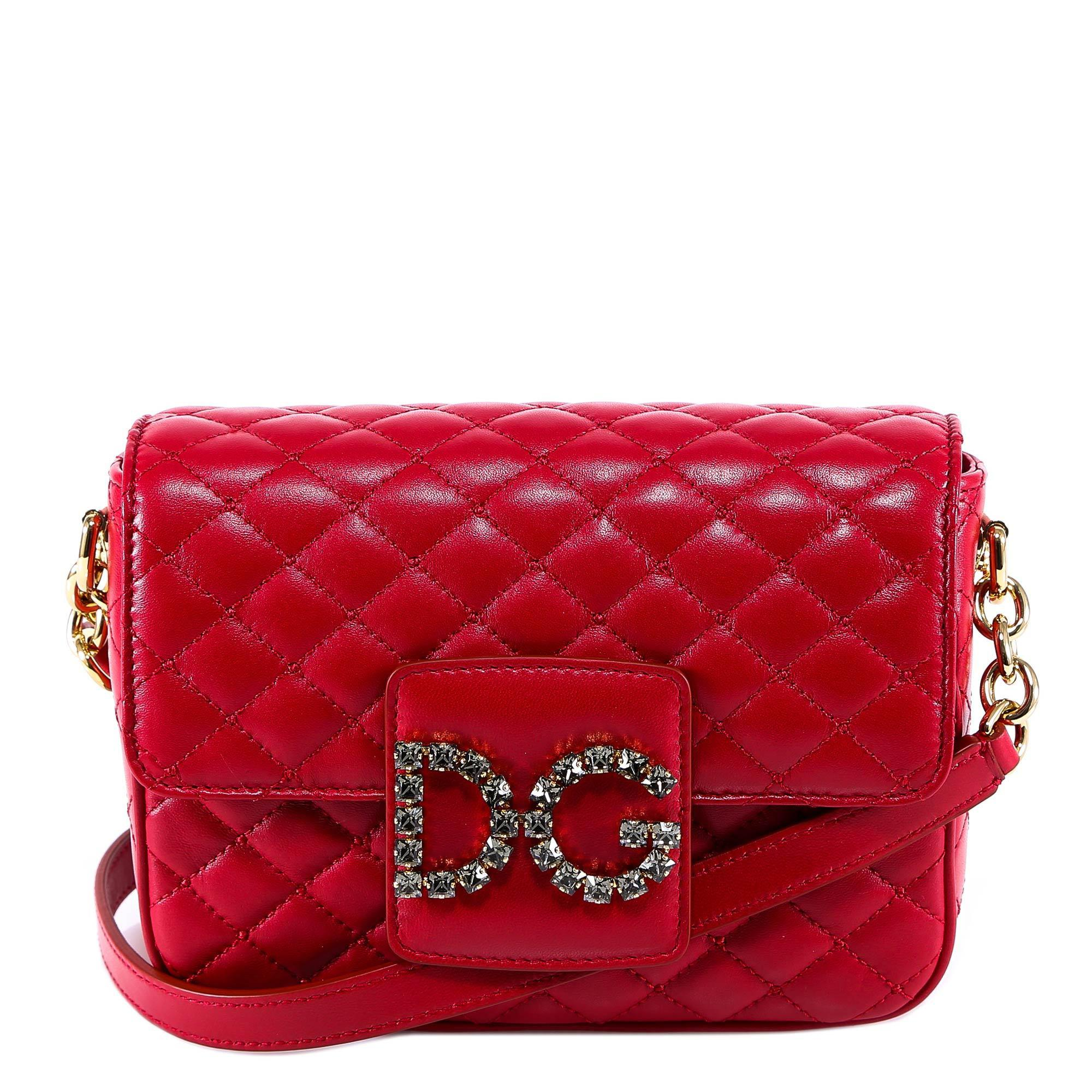 Lyst - Dolce   Gabbana Embellished Dg Quilted Shoulder Bag in Red 96e008ab7c49c