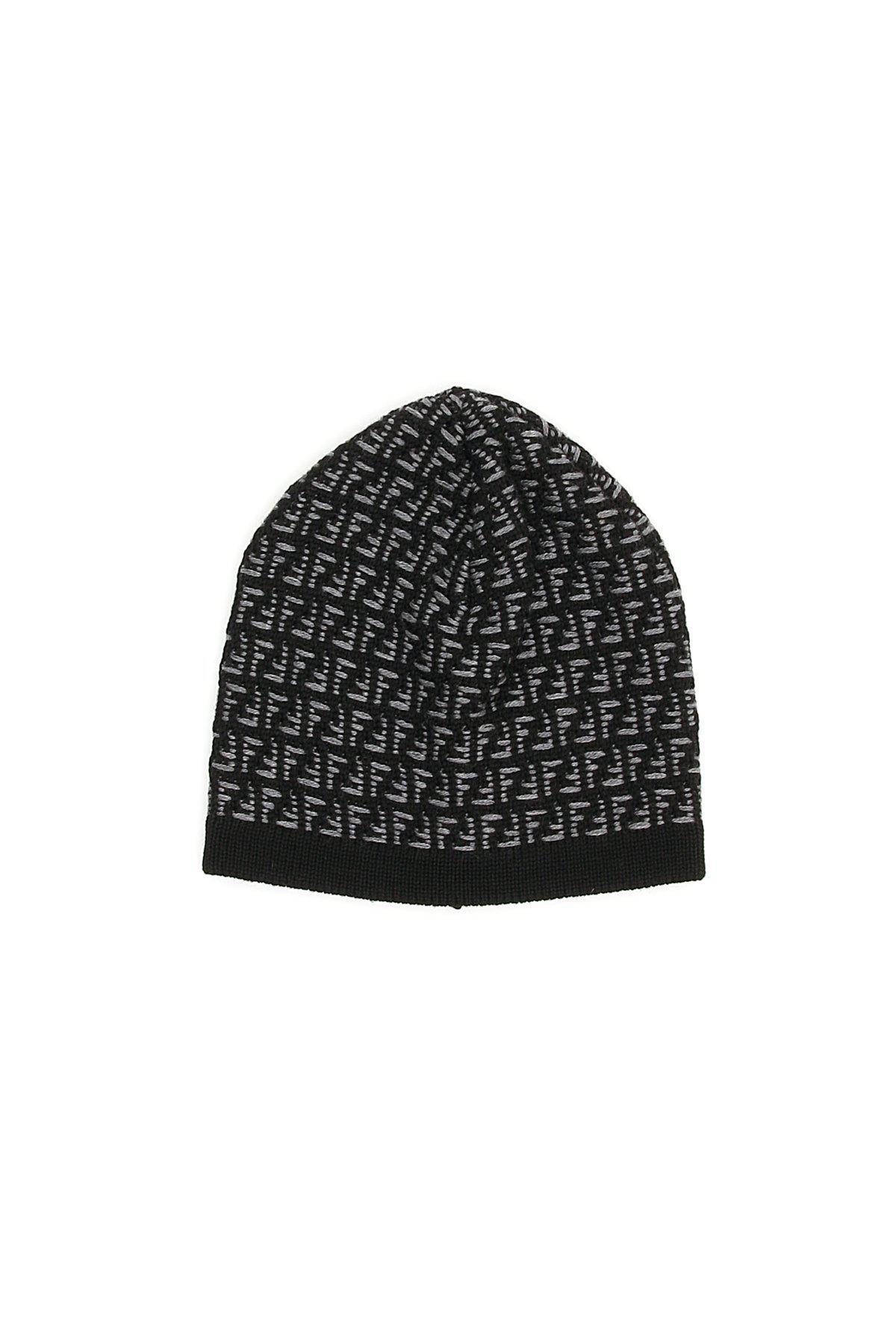 e2d663143857e6 Fendi Ff All Over Logo Beanie in Black for Men - Lyst