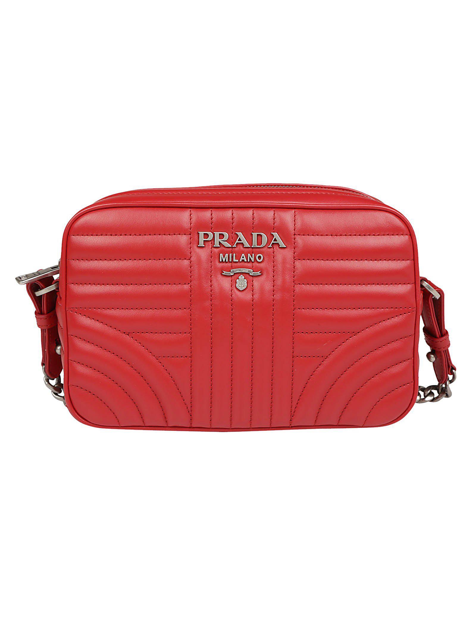 7b712acf8fa1 Prada Bevelled Shoulder Bag in Red - Lyst