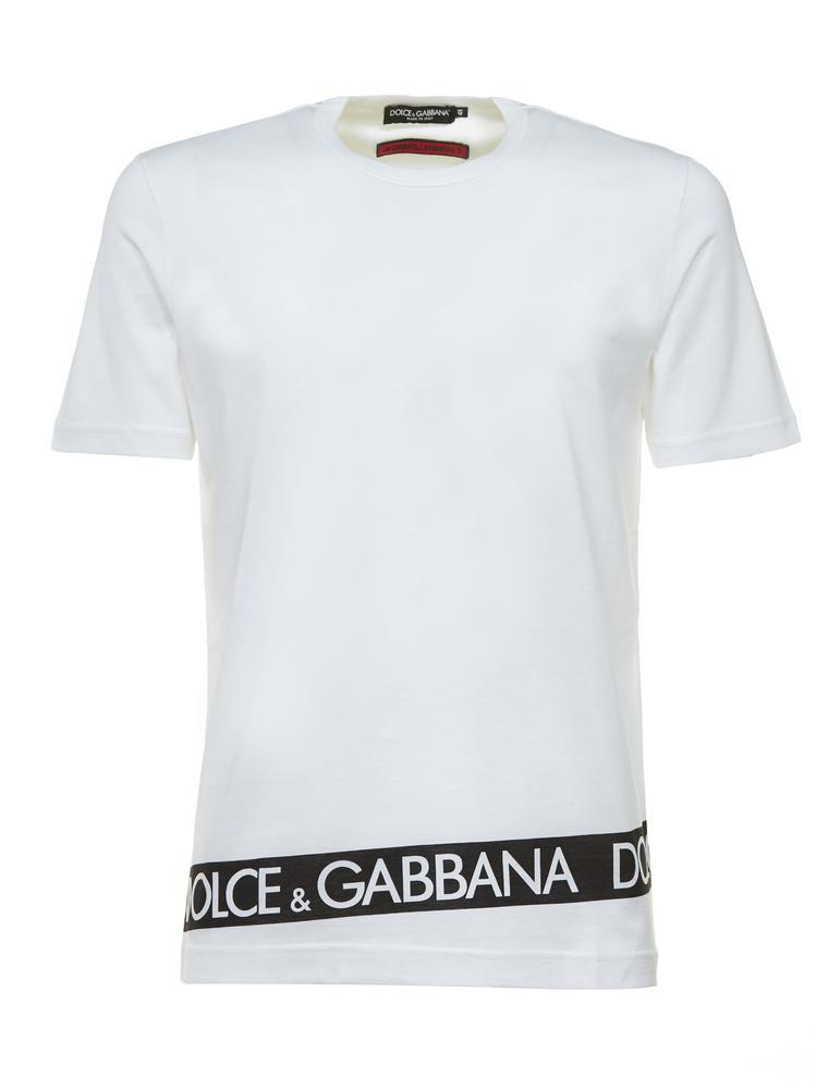 bb55c78b3 Lyst - Dolce & Gabbana Logo Stripe T-shirt in White