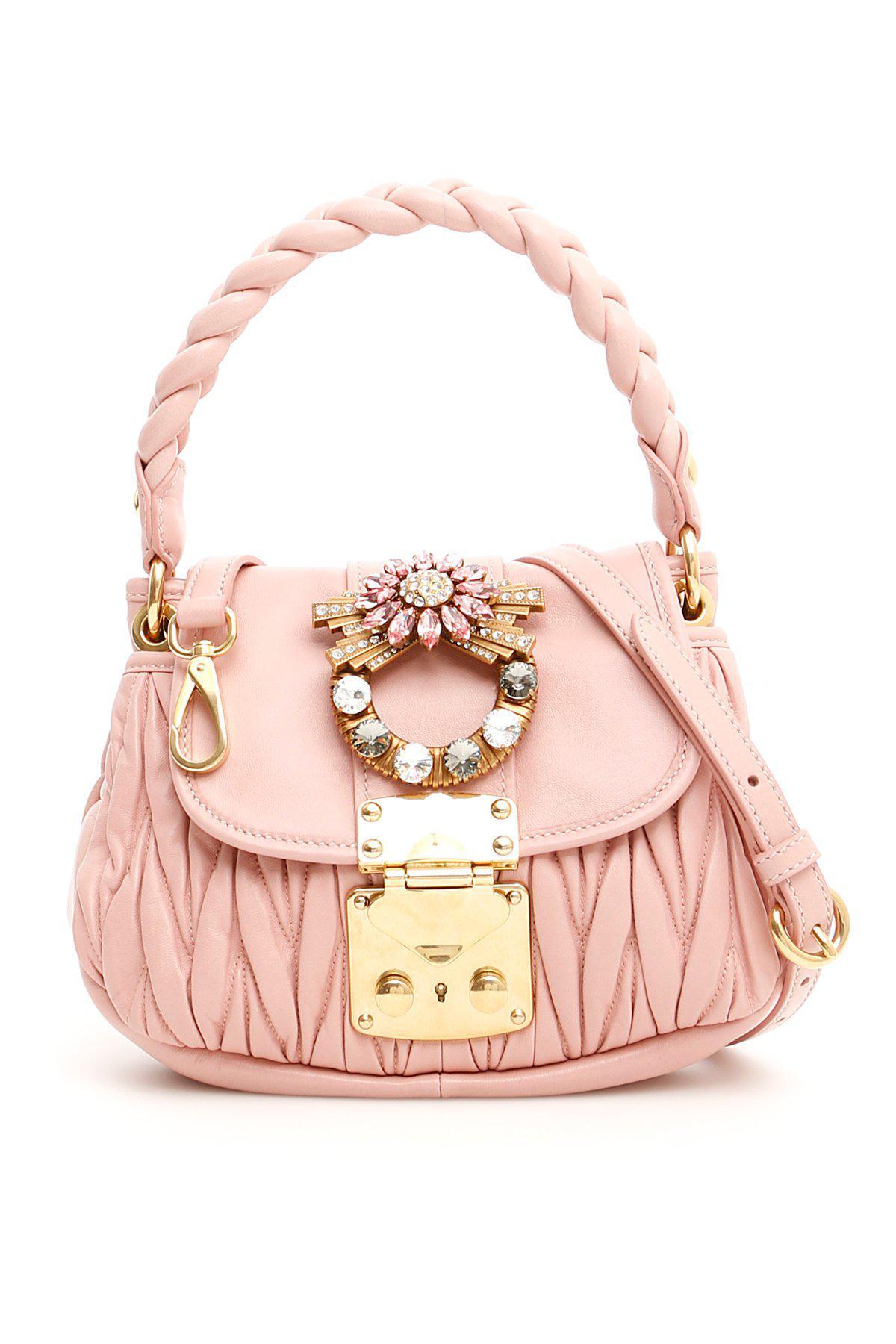 38096b2a0b70 Lyst - Miu Miu Mini Embellished Matelassé Tote Bag in Pink