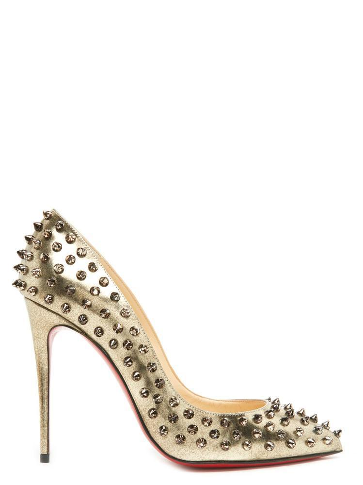 buy online 0b20b be7eb Christian Louboutin Follies Spikes Pumps in Metallic - Lyst
