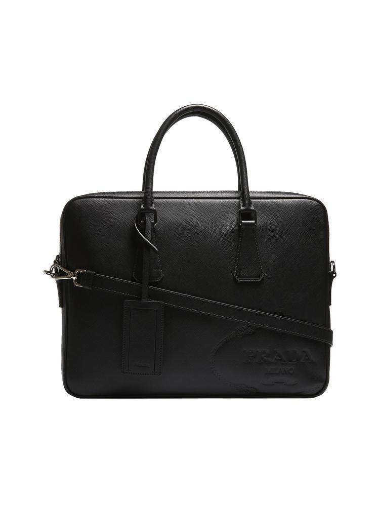 Lyst - Prada Embossed Saffiano Laptop Bag in Black for Men 78644a1498855