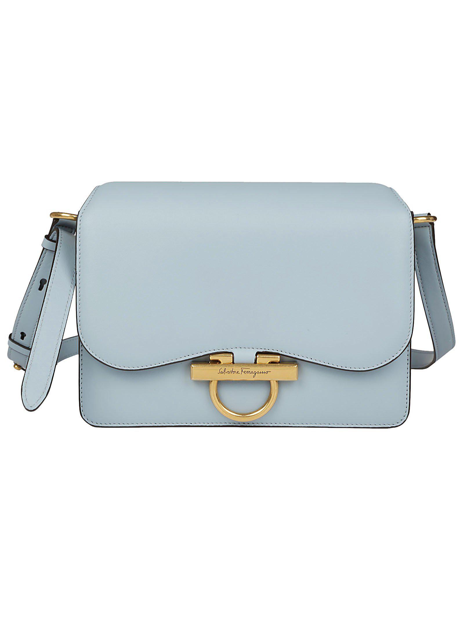 a98a34fc1239 Ferragamo Logo Clasp Shoulder Bag in Blue - Lyst