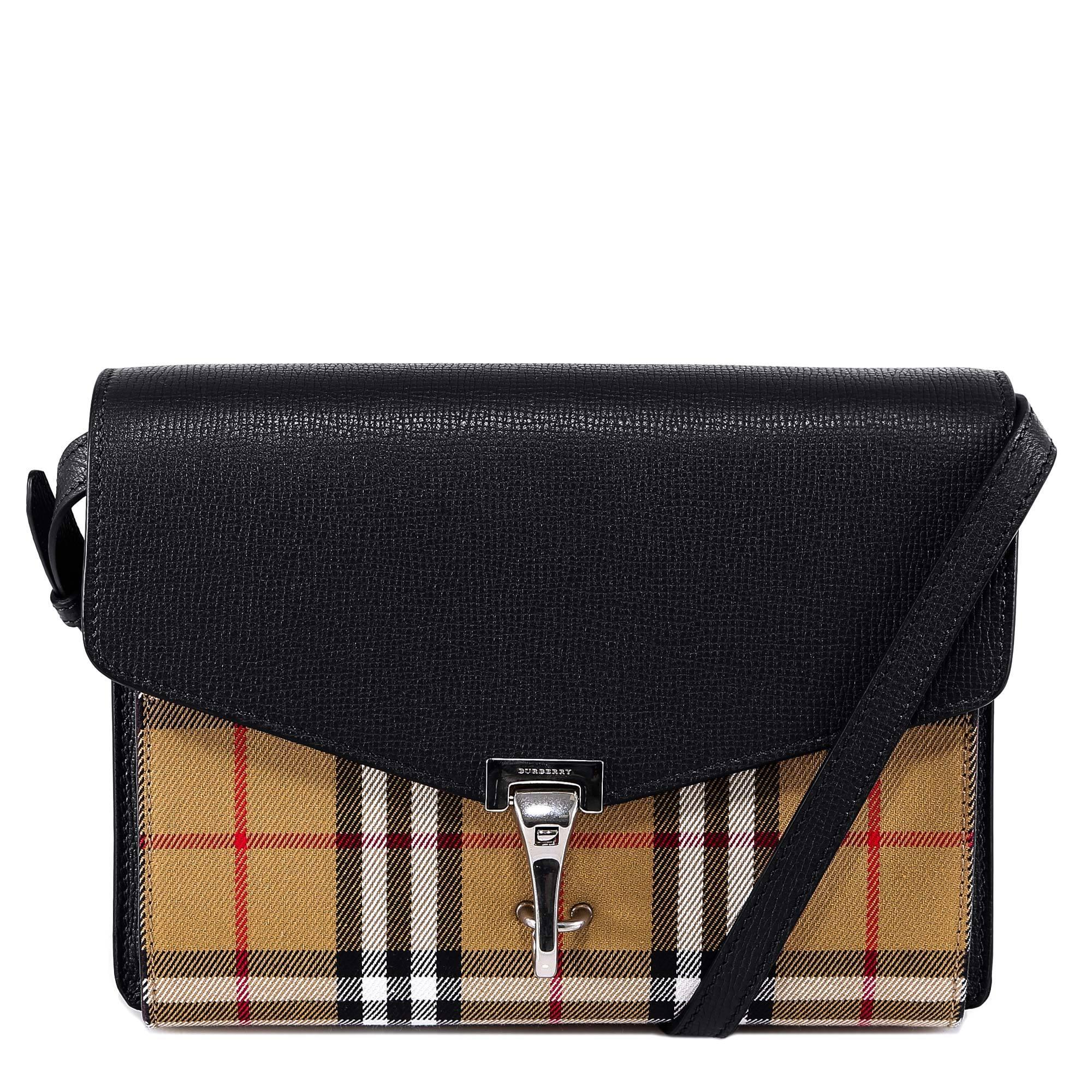 35082153318 Burberry Small Vintage Check Crossbody Bag in Black - Lyst