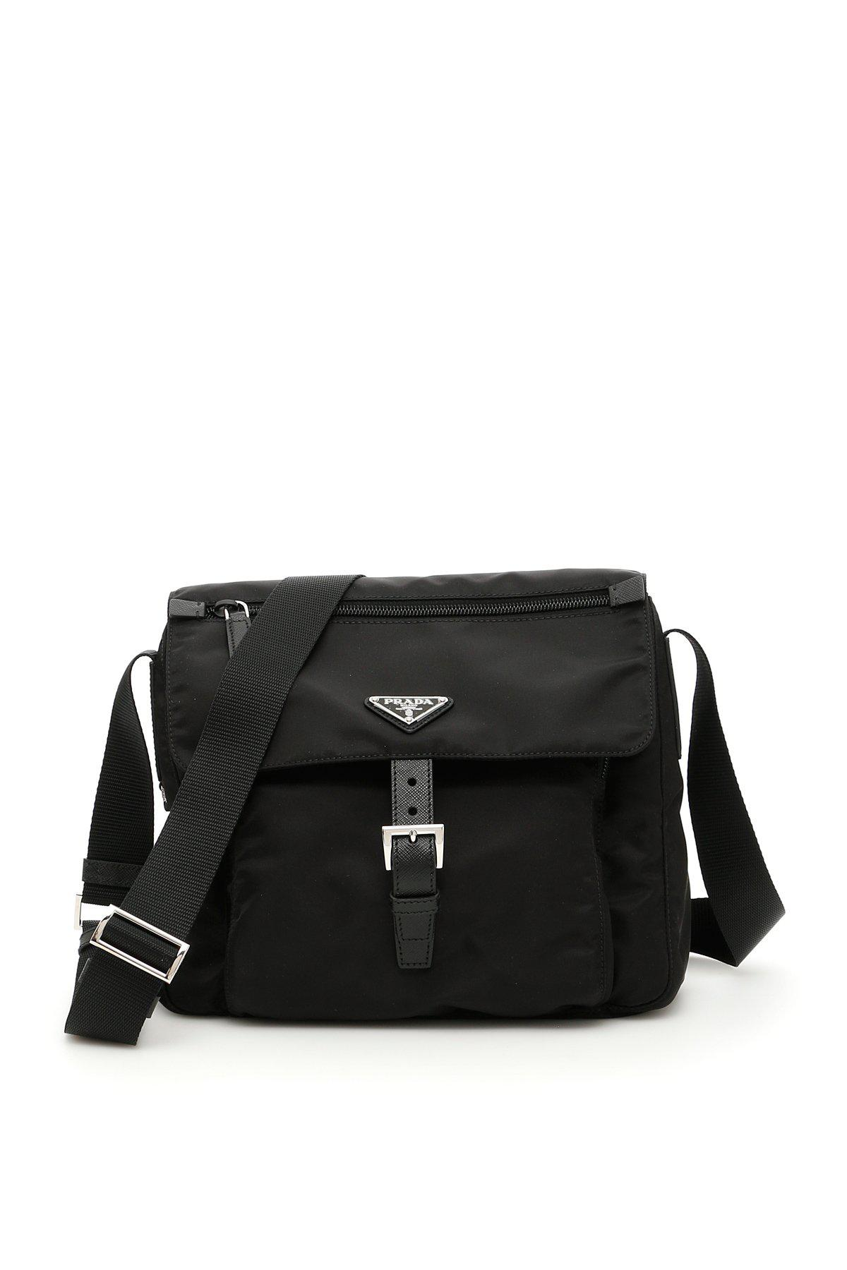 7d42359c154f ... italy prada logo plaque crossbody bag in black lyst 6b038 99848 ...