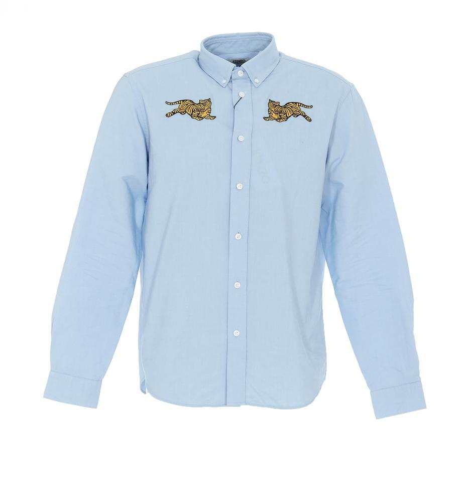 a3fb0186 Lyst - KENZO Jumping Tiger Button-down Shirt in Blue for Men - Save 29%