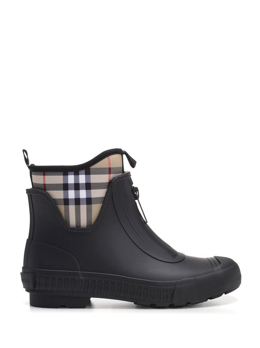 602b1b6db62 Lyst - Burberry Women s Flinton Check Rain Booties in Black - Save 35%