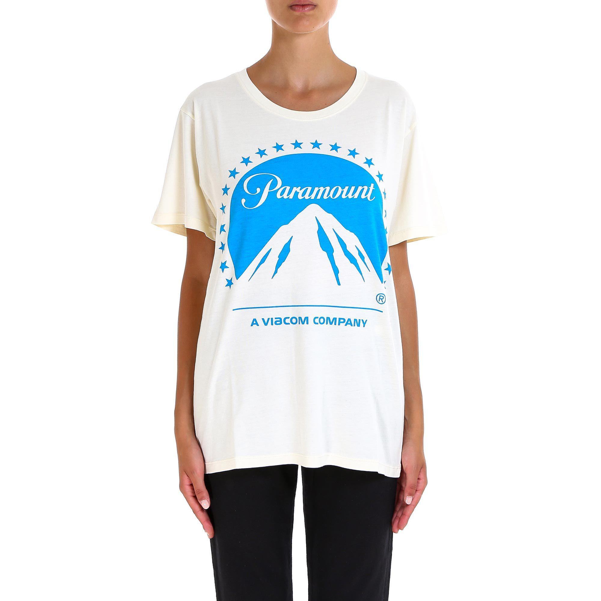 2204fe9af Gucci Paramount Print T-shirt in White - Lyst