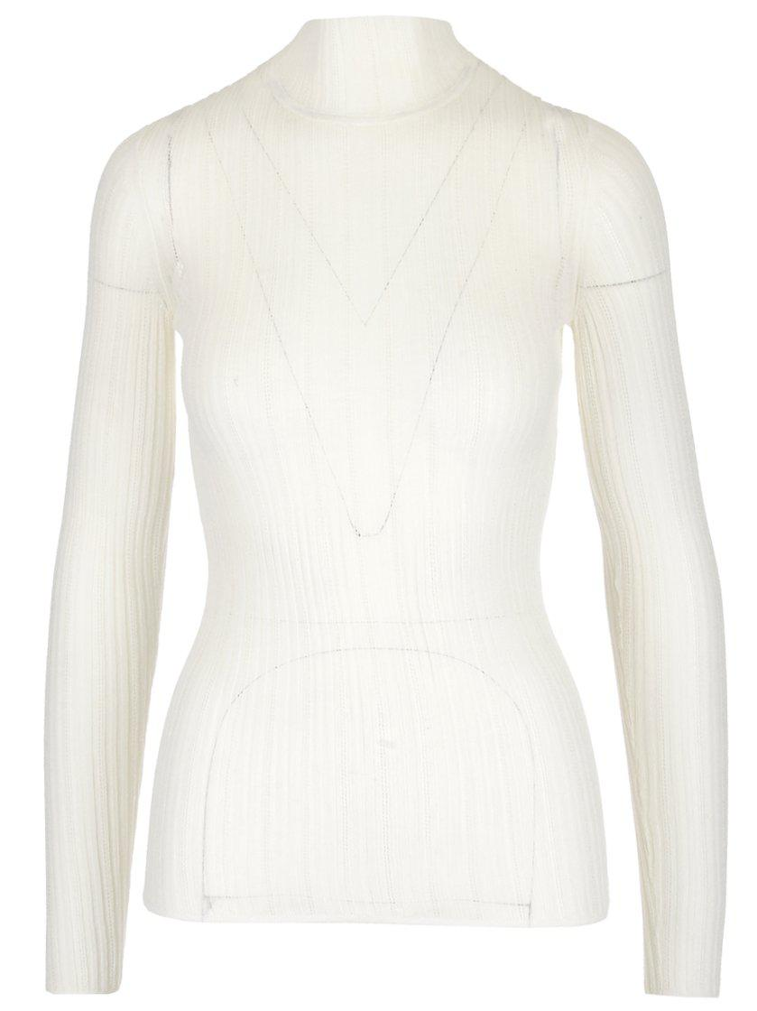 048d4107ebf Lyst - Theory Turtleneck Ribbed Sweater in Natural