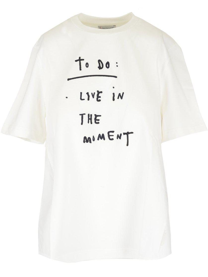 abb887509ba3 Lyst - Moncler Slogan To Do T-shirt in White