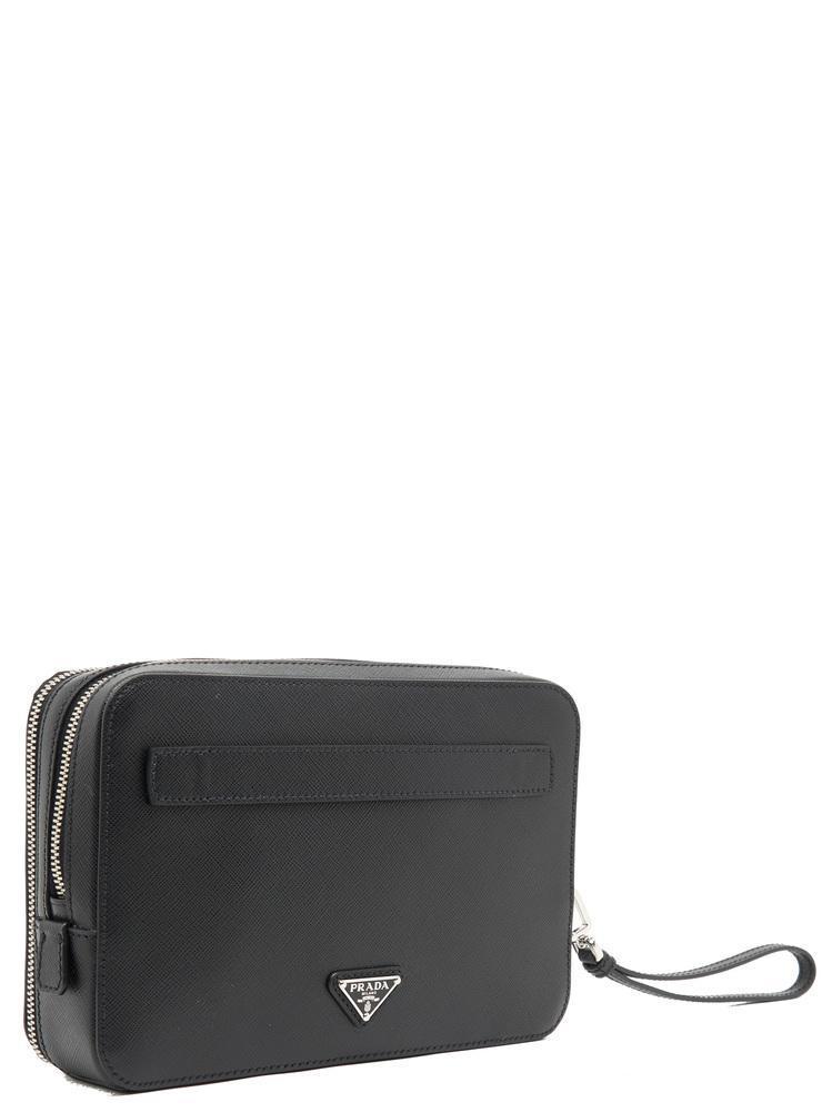 5f53de9d1cb5d3 Prada - Black Double Zip Travel Pouch - Lyst. View fullscreen