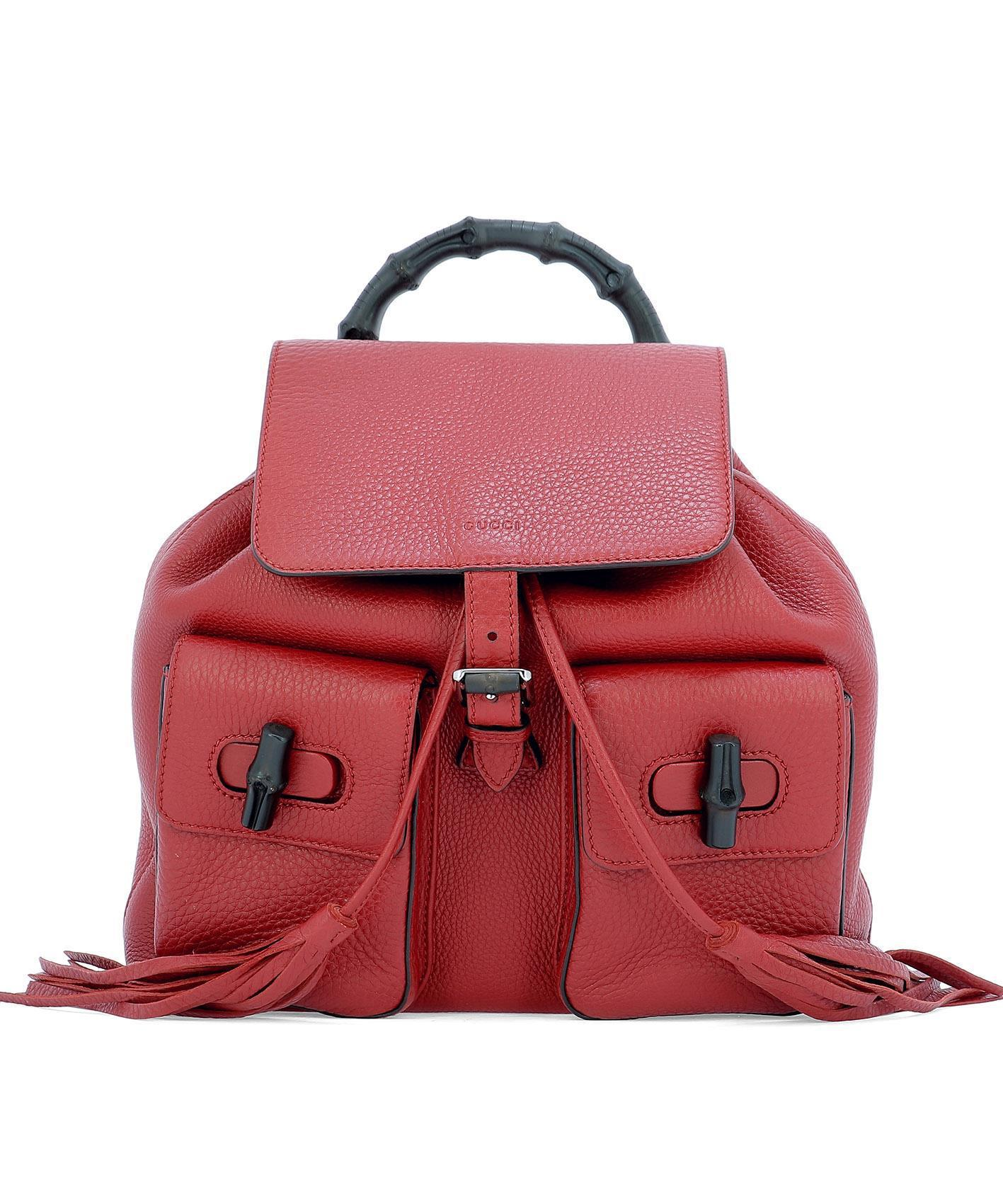 bc1550e7a1f9 Gucci Vintage Bamboo Backpack in Red - Lyst