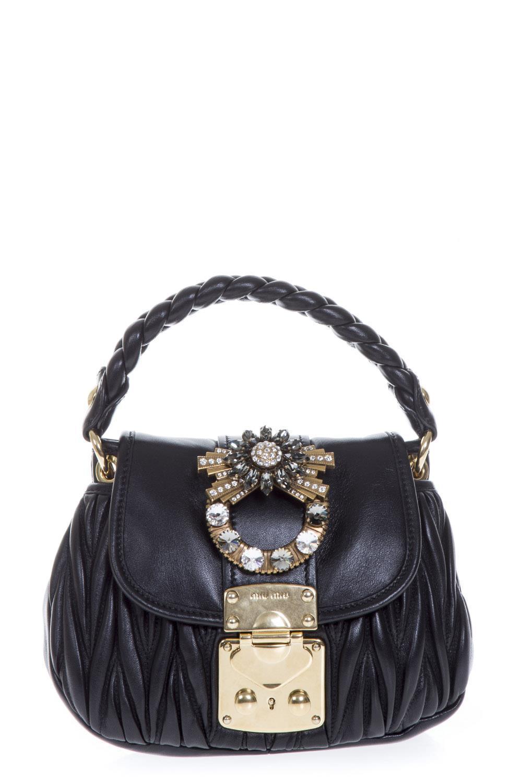 13f94bdac893 Miu Miu Coffer Embellished Tote Bag in Black - Lyst