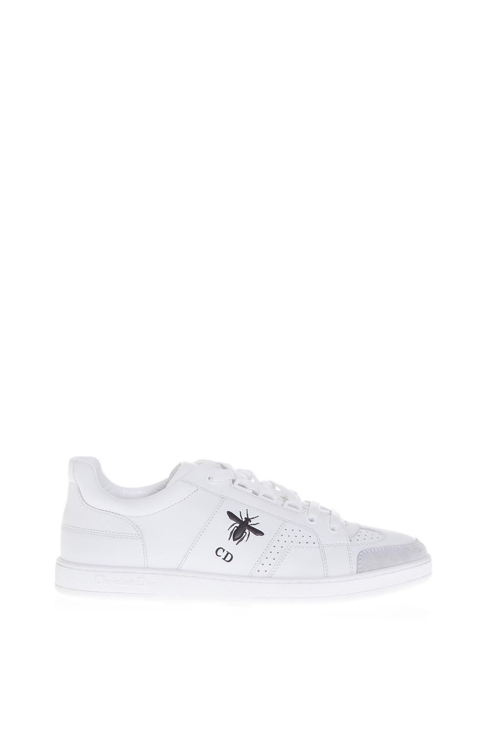 Dior Leather Cd Bee Sneakers in White