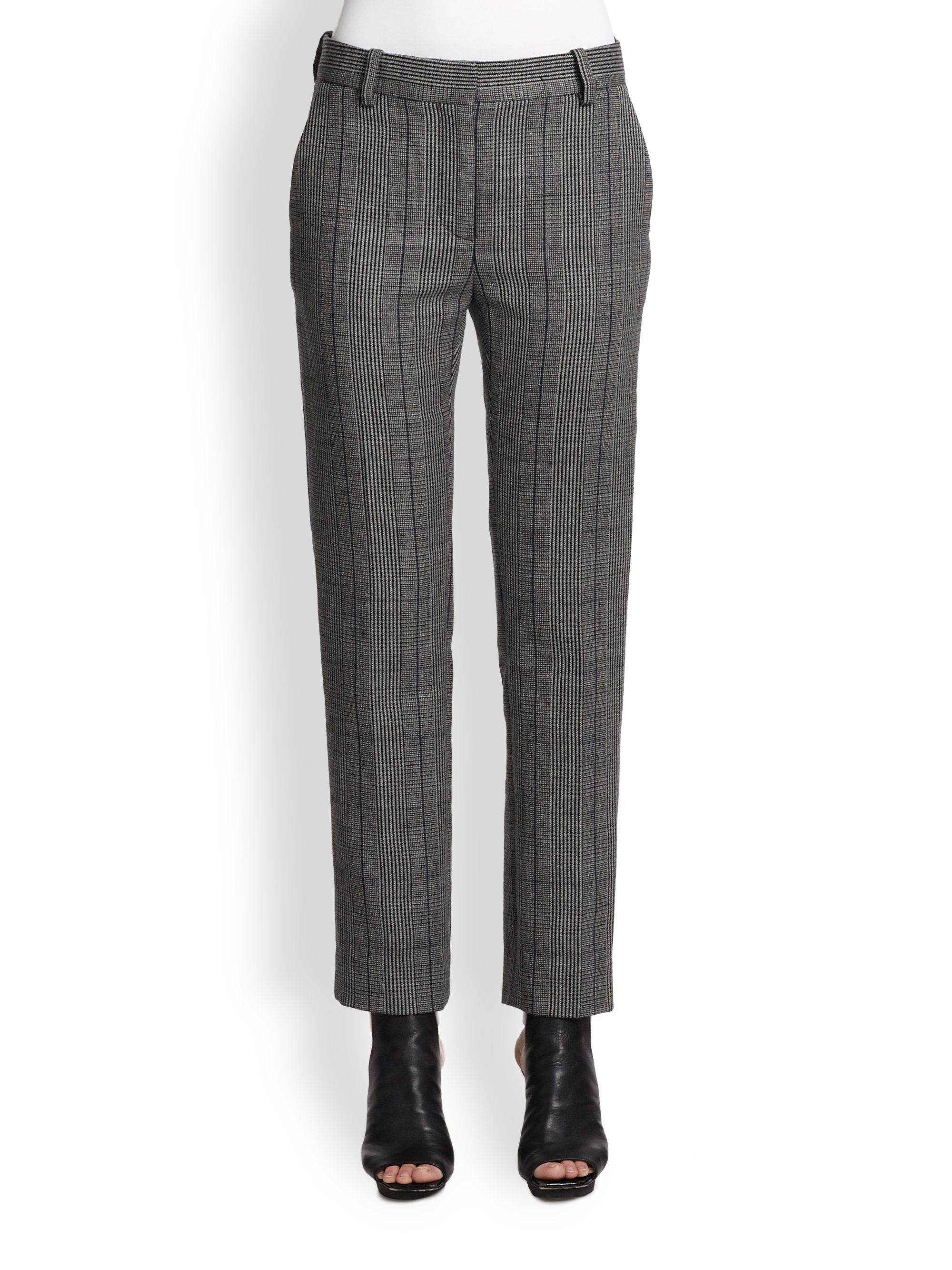 3.1 phillip lim Cropped Wool Plaid Pants in Gray | Lyst